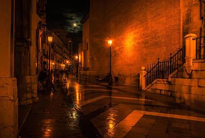 Full Rainbow Photograph - Full Moon Night In Malaga. Spain by Jenny Rainbow