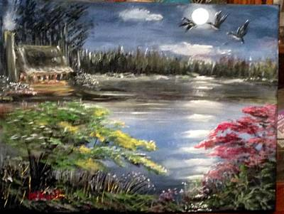 Painting - Full Moon Night by M Bhatt