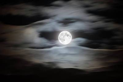 Photograph - Full Moon On A Cloudy Night Sky by Bjorn Holland