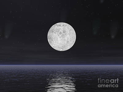 Beauty.colors Digital Art - Full Moon On A Dark Night With Stars by Elena Duvernay