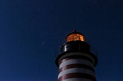 West Quoddy Head Lighthouse Photograph - Full Moon On Quoddy by Marty Saccone