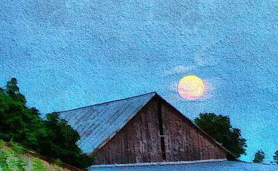 Old Barn Painting - Full Moon On The Farm by Dan Sproul