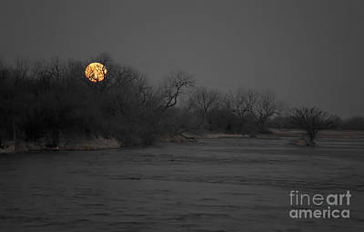 Photograph - Full Moon On The Platte River by Jim West