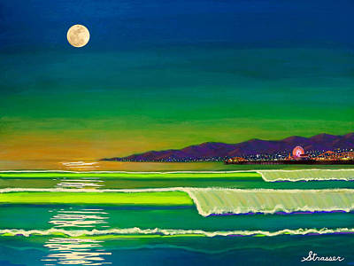 Santa Monica Painting - Full Moon On Venice Beach by Frank Strasser