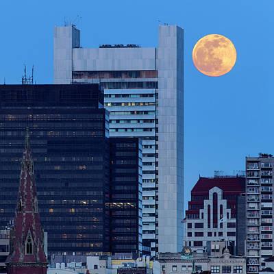 Full Moon Over Boston Art Print by Babak Tafreshi