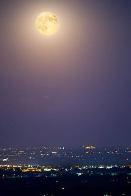 James Insogna Photograph - Full Moon Over City Lights by James BO  Insogna