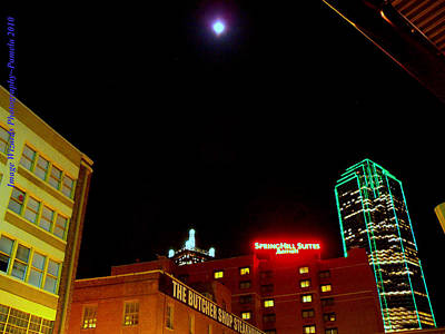 Full Moon Over Dallas Skyline Original by ARTography by Pamela Smale Williams
