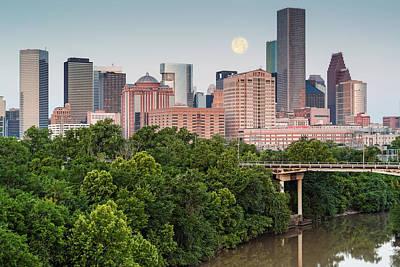 Photograph - Full Moon Over Downtown Houston Skyline Texas by Silvio Ligutti