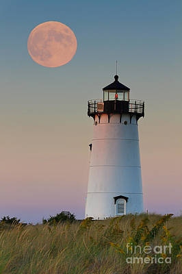 New England Lighthouse Photograph - Full Moon Over Edgartown Lighthouse by Katherine Gendreau