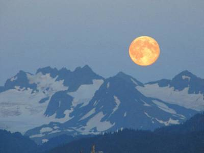 Photograph - Full Moon Over Homer by Lisa Dunn