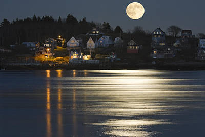 Moonlit Night Photograph - Full Moon Over Kennebec River Georgetown Island Maine by Keith Webber Jr