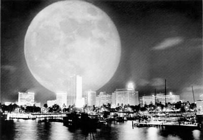 Full Moon Over Miami Art Print by Charles Trainor