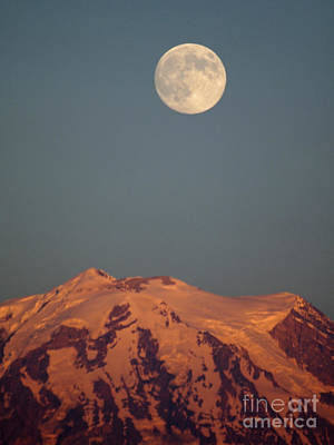 Full Moon Over Mount Rainier Art Print