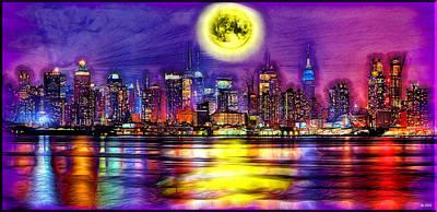Full Moon Over New York City  Art Print