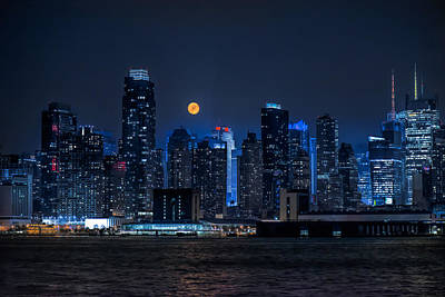 Photograph - Full Moon Over New York City by Linda Karlin