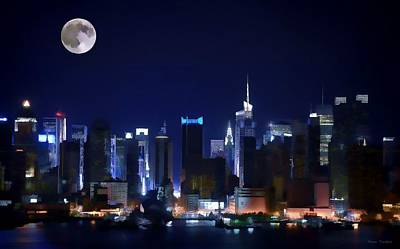 Digital Art - Full Moon Over New York by Renee Trenholm