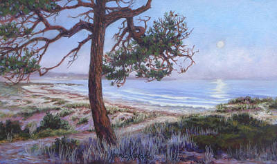 Full Moon Over Pebble Beach Art Print