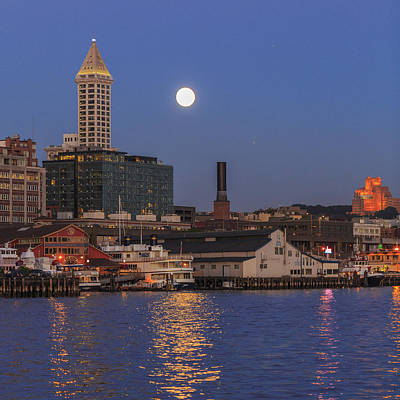 Photograph - Full Moon Over Pioneer Square by Scott Campbell