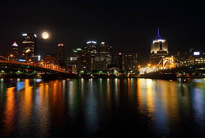 River Photograph - Full Moon Over Pittsburgh Skyline by Jetson Nguyen