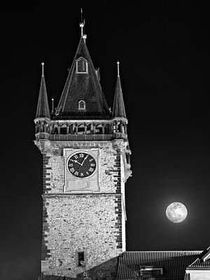 Photograph - Full Moon Over Prague Town Hall / Prague by Barry O Carroll