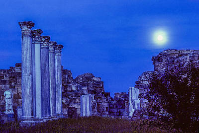 Photograph - Full Moon Over Salamis - North Cyprus by Martin Liebermann