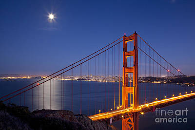 Photograph - Full Moon Over San Francisco by Brian Jannsen