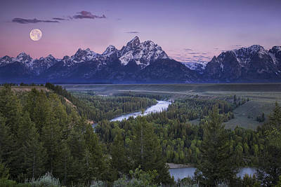 Grand Tetons Wall Art - Photograph - Full Moon Over The Mountains by Andrew Soundarajan