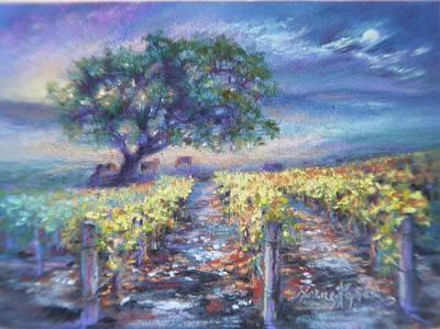 Full Moon Over The Vineyard Art Print