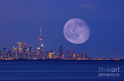 Photograph - Full Moon Over Toronto by Charline Xia