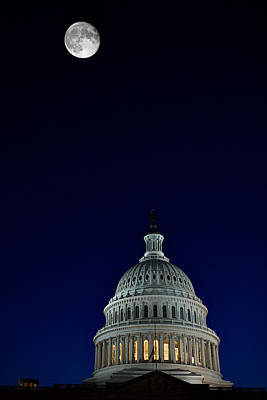 Full Moon Over Us Capitol Art Print
