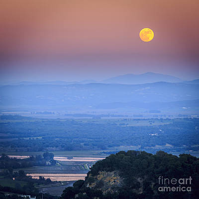 Full Moon Over Vejer Cadiz Spain Art Print