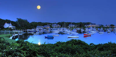 Full Moon Over Wychmere Harbor Art Print by Ken Stampfer