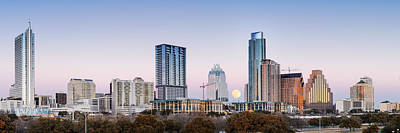 Austin Skyline Photograph - Full Moon Rising Behind Downtown Austin Skyline Texas by Silvio Ligutti