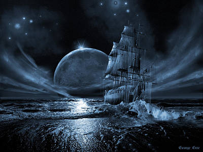 Pirate Ship Digital Art - Full Moon Rising by George Grie