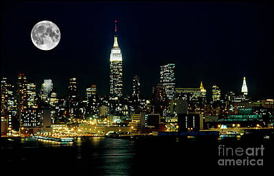 Skylines Royalty-Free and Rights-Managed Images - Full Moon Rising - New York City by Anthony Sacco