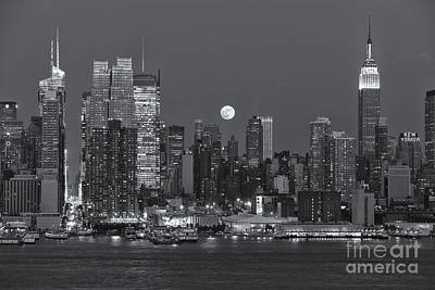 Photograph - Full Moon Rising Over New York City IIi by Clarence Holmes