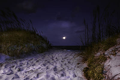Photograph - Full Moon Rising Over North Carolina Coast  by Gray  Artus