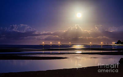 Photograph - Full Moon Rising Over Sandgate Pier by Silken Photography
