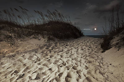 Photograph - Full Moon Rising Over Topsail Island by Gray  Artus
