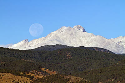 Photograph - Full Moon Setting Over Snow Covered Twin Peaks  by James BO  Insogna
