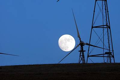 Photograph - Full Moon Windmills by Michael Courtney