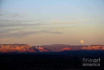 Photograph - Full Moonrise Over Red Rocks Of Sedona by Ron Chilston