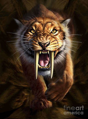 Anger Digital Art - Full On View Of A Saber-toothed Tiger by Jerry LoFaro