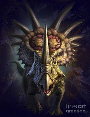 Looking At Camera Digital Art - Full On View Of The Horned Dinosaur by Jerry LoFaro
