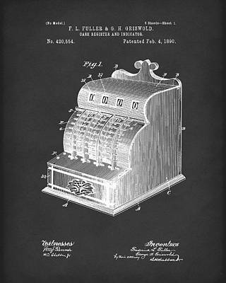 Cash Register Drawing - Fuller And Griswold Cash Register 1890 Patent Art Black by Prior Art Design