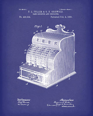 Drawing - Fuller And Griswold Cash Register 1890 Patent Art Blue by Prior Art Design
