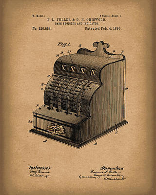 Cash Register Drawing - Fuller And Griswold Cash Register 1890 Patent Art Brown by Prior Art Design