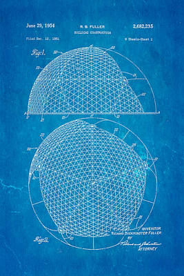 Brickie Photograph - Fuller Geodesic Dome Patent Art 1954 Blueprint by Ian Monk