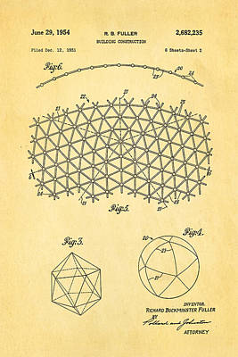 Fuller Geodesic Dome Patent Art 2 1954  Art Print by Ian Monk