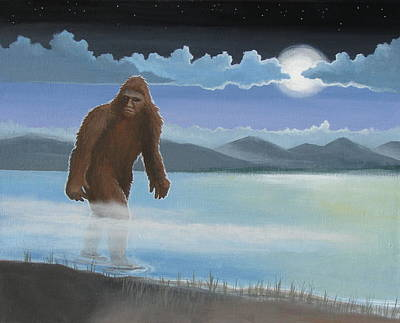 Creepy Painting - Fullmoon Squatch by Stuart Swartz